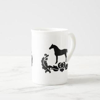 Caballo blanco y negro del damasco tazas de china