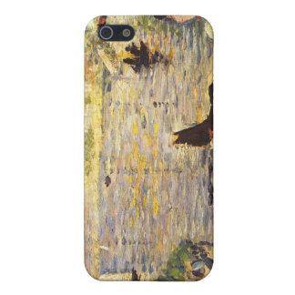 Caballo blanco y negro en el río por Seurat iPhone 5 Protectores