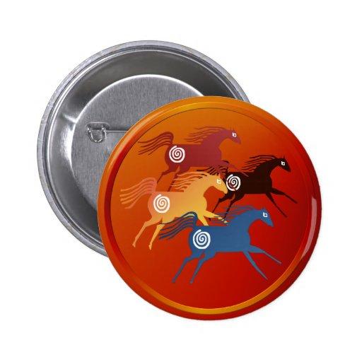 Caballo-Botón antiguo cuatro Pin