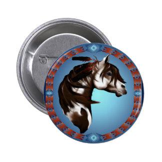 Caballo-Botón emplumado de la pintura Pin Redondo 5 Cm