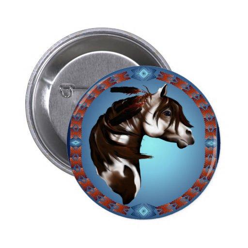 Caballo-Botón emplumado de la pintura Pin