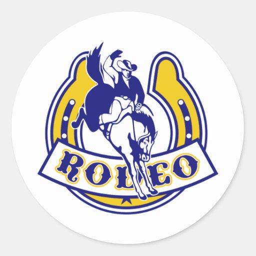 caballo bucking de la herradura del caballo pegatina redonda