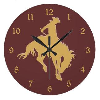 Caballo Bucking del vaquero del oro Reloj Redondo Grande