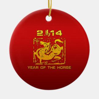 Caballo chino 2014 del zodiaco adorno navideño redondo de cerámica