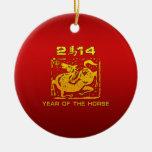 Caballo chino 2014 del zodiaco ornamento de navidad