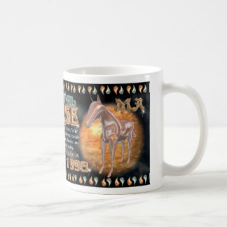 Caballo chino del metal del zodiaco para 1930 1990 taza básica blanca