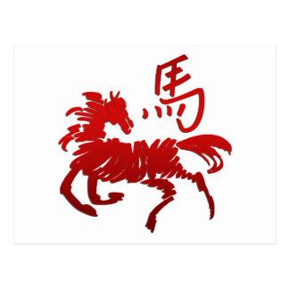 Caballo chino del zodiaco tarjeta postal