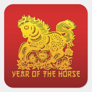 Caballo chino Papercut del zodiaco Pegatina Cuadrada