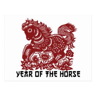 Caballo chino Papercut del zodiaco Postal
