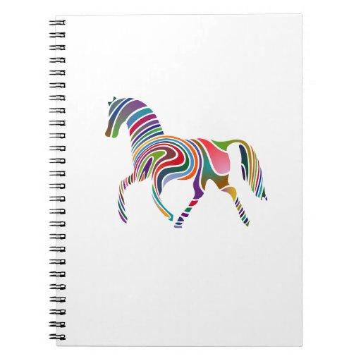 Caballo Color-Rayado del arco iris Libros De Apuntes Con Espiral