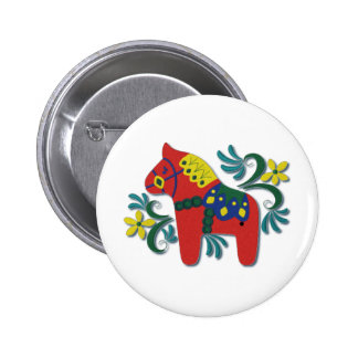 Caballo colorido de Dala del sueco Pin Redondo 5 Cm