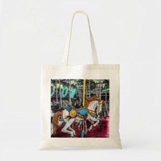 Caballo colorido del carrusel en el carnaval bolsa tela barata