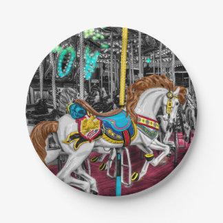 Caballo colorido del carrusel en el carnaval plato de papel de 7 pulgadas