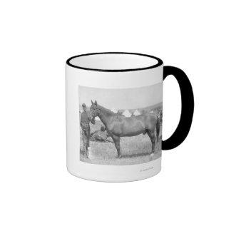 Caballo Comanche el único superviviente del Cust Tazas De Café