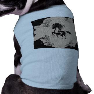 Caballo como dibujo de la pluma y de la tinta playera sin mangas para perro