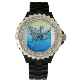 caballo con alas azul relojes de pulsera