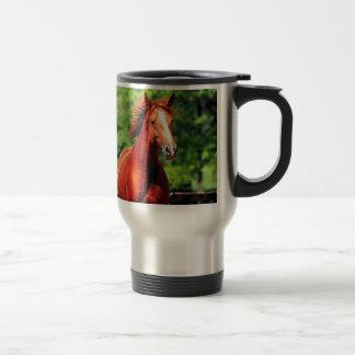 caballo con una capa roja taza de viaje de acero inoxidable