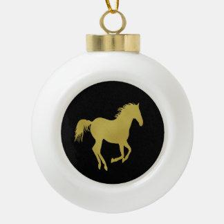Caballo corriente del oro en negro adorno de cerámica en forma de bola