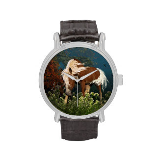 Caballo curioso en un prado relojes