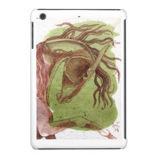 Caballo de bahía en la caja verde serpentina del funda de iPad mini