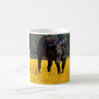 Caballo de bahía en un campo de flores amarillas taza de café