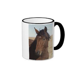 Caballo de bahía en viento tazas de café