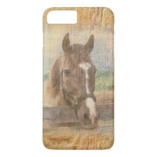 Caballo de Brown con el halter en la madera vieja Funda iPhone 7 Plus