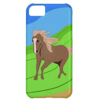 Caballo de Brown que corre con el viento que sopla Carcasa Para iPhone 5C