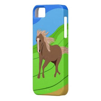 Caballo de Brown que corre con el viento que sopla Funda Para iPhone SE/5/5s