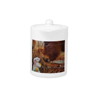 Caballo de Brown y conejito de pascua miniatura