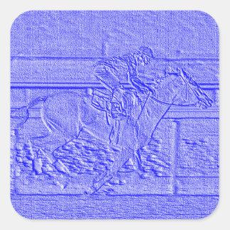 Caballo de carreras azul en colores pastel del pegatina cuadrada