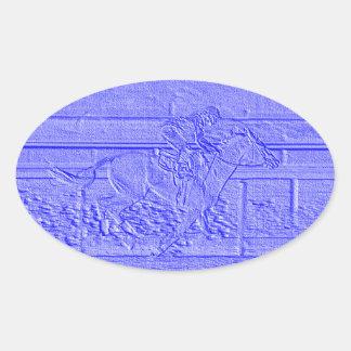Caballo de carreras azul en colores pastel del pegatina ovalada