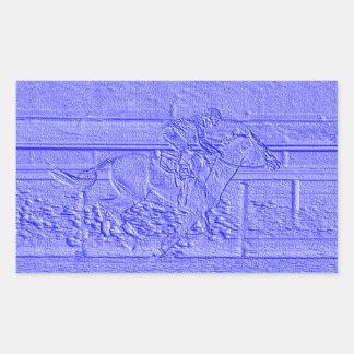 Caballo de carreras azul en colores pastel del pegatina rectangular