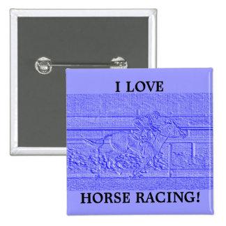 Caballo de carreras azul en colores pastel del chapa cuadrada 5 cm