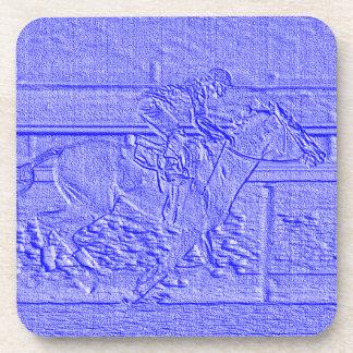 Caballo de carreras azul en colores pastel del posavasos