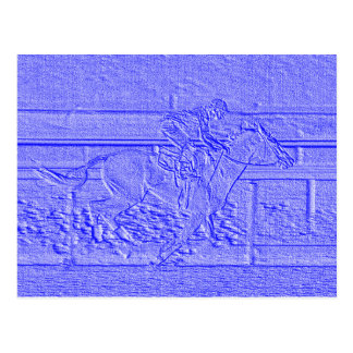 Caballo de carreras azul en colores pastel del tarjetas postales