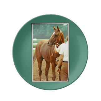 Caballo de carreras excelente afirmado 1978 plato de cerámica