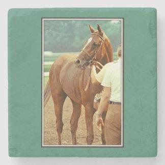 Caballo de carreras excelente afirmado 1978 posavasos de piedra
