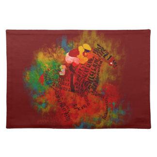Caballo de carreras excelente colorido Placemats Mantel