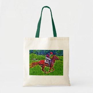 Caballo de carreras y jinete bolsa de mano