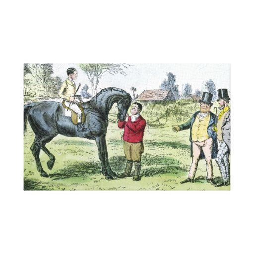 Caballo de carreras y jinete del Victorian Impresión En Lienzo Estirada