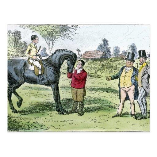 Caballo de carreras y jinete del Victorian Tarjetas Postales