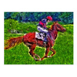 Caballo de carreras y jinete tarjetas postales