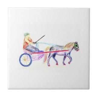 Caballo de carro en el pastel coloreado del creyón azulejo cuadrado pequeño