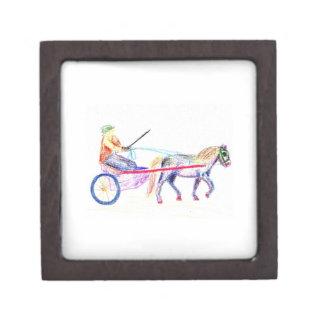 Caballo de carro en el pastel coloreado del creyón caja de joyas de calidad