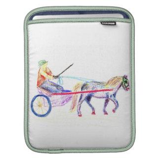 Caballo de carro en el pastel coloreado del creyón fundas para iPads