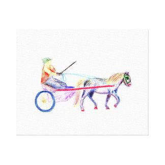 Caballo de carro en el pastel coloreado del creyón impresion de lienzo