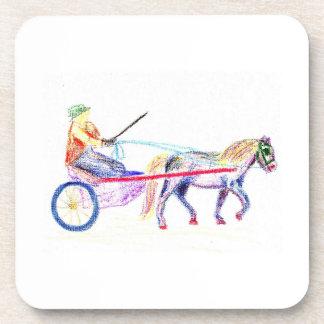 Caballo de carro en el pastel coloreado del creyón posavasos de bebida