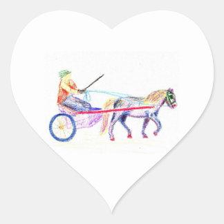 Caballo de carro en el pastel coloreado del pegatina en forma de corazón