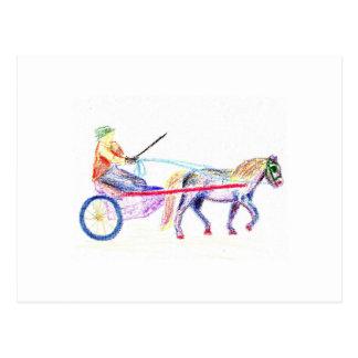Caballo de carro en el pastel coloreado del postales